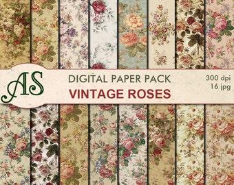 Digital Vintage Roses Paper Pack, 16 printable Digital Scrapbooking papers, floral Digital Collage, roses clipart, Instant Download, set 174