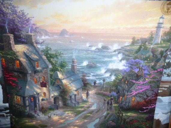 Top Images For The Village Lighthouse Thomas Kinkade Paintings On Picsunday 27 05 2018 To 1006