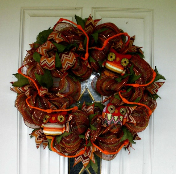 Wreath mesh wreath owl wreath multi colored wreath indoor wreath