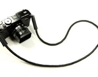 Braided Leather Non-adjust: Leather camera neck strap