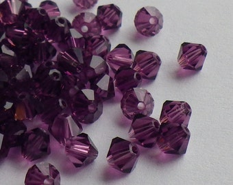 Vintage Swarovski Crystal Beads, 4mm Amethyst, Article 5301, 50 Vintage Crystal Beads