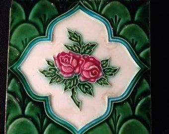 Pink rose vintage 8 x 8 green tile