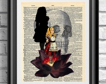 Art print on dictionary book page Alice in Wonderland. Gothic steampunk black lotus on antique book page print. Dark artwork quotation.