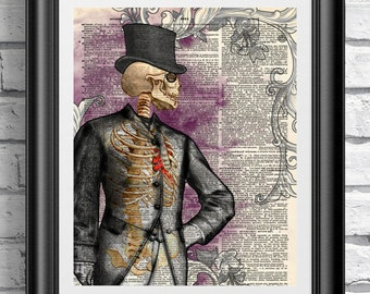 Gothic victorian anatomical skeleton gentleman. Art print on antique dictionary book page. Old sheet artwork Wall hangings skull love heart.