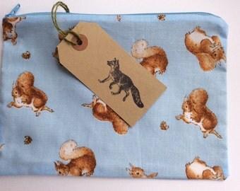 Large make up bag, Beatrix Potter Squirrel Nutkin, handmade and fully lined.