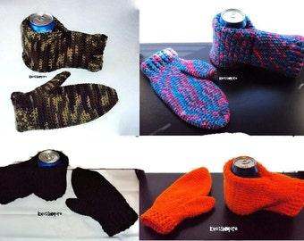 Drink Mitt with Matching Mitten - Crochet Drink Mitt with Matching Mitten - Drink Mitt and Mitten - Crochet Drink Mitt and Mitten
