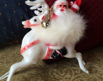 Vintage Santa Riding A Reindeer with Fur and Bell