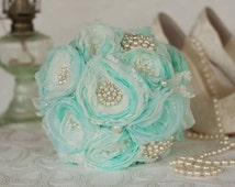 Off White and mint satin, chiffon and Lace Bridesmaids Bouquet, Vintage Inspired Fabric Brooch Burlap Wedding Bouquet