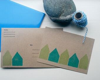 Kaart met envelop, huisjes , post card with envelope, little houses, Postkarte mit Briefumschlag, Häuschen