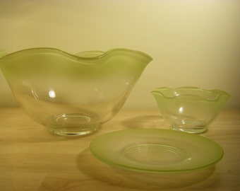 "Two Ruffled Bowls 10-1/4"" and 5-3/8"" diameter, and Plate 6-1/4"" diameter, Clear with Light Yellow Edge"