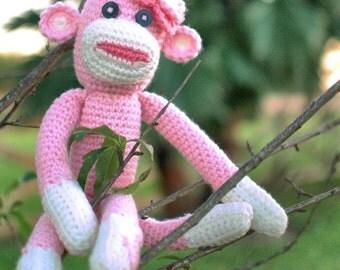Crochet Sock Monkey, Crochet Pink Sock Monkey