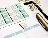 30 Mint & Gold Notebook Stickers! Perfect for Erin Condren, Filofax, Plum Paoer, Kikki, and other planner! #SQ00458