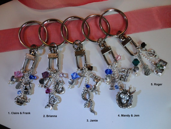 Outlander inspired key rings character amp place by themagpizenest