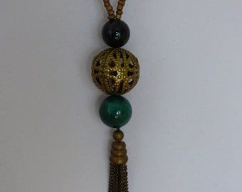 necklace green camouflage and bronze - Made in FRANCE