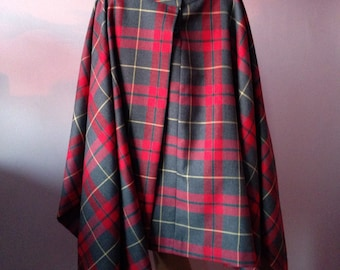 Asymmetrical tartan skirt/Extravagant plaid skirt