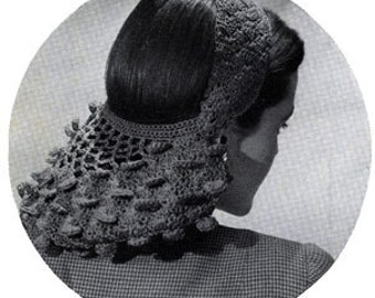 Crochet Pattern Download / Vintage Snood / womans crochet pattern instant download / 1940s pattern / womans hat