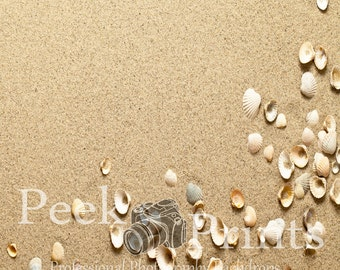 5ft.x5ft. On the Beach- Sand with Shells Vinyl Photography Backdrop- Sand Floor Drop