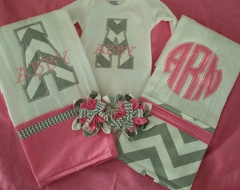 Baby girl pink and grey chevron gift set