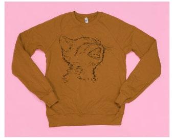Caramel Kitty Cat Screenprinted Sweatshirt