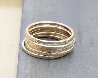 1.3 mm 5 pcs 14 k gold filled shiny textured stacking rings , 5 band rings, wedding gift, holiday gift, bridesmaid gift