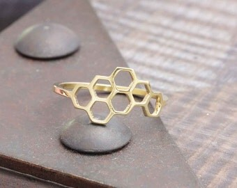 1.0 mm 925 vermeil gold open honeybee honeycomb ring (R_00043)