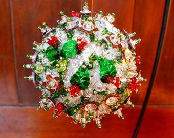 The Holly & The Ivy Snowball Ornament. Christmas ornament.  Home decor. Desk accessories. Beaded ornament.  Sequin ornament.