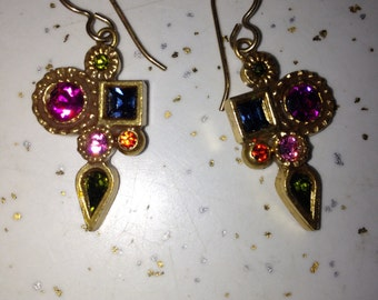 Gold and Jewel Tone Pireced Earrings