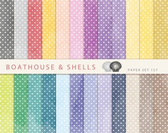 WATERCOLOR POLKA DOTS, Scrapbooking digital paper pack with watercolor texture, printable, instant download - 24 papers - 157