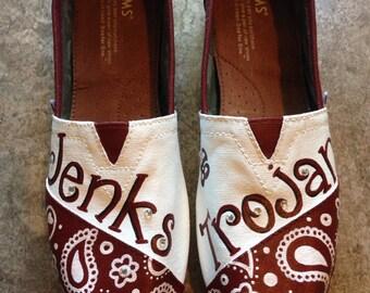 Custom Painted Toms Shoes- Jenks Trojans