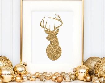 Deer print, Christmas gold glitter wall art printable, Antler print, Holiday decor (Printable wall art decor - Instant download - JPG)