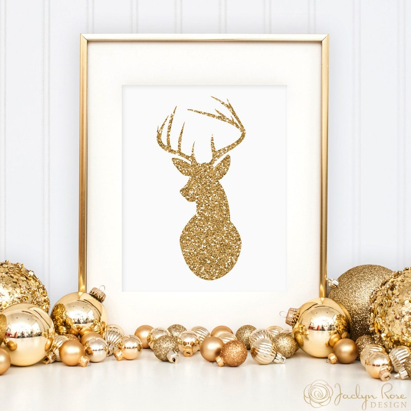 Gold Glitter Wall Decor : Deer print christmas gold glitter wall art printable antler