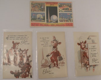 1939 New York World's Fair Lot of 4 Postcards  Featuring 3 Borden's  Elsie The Cow Cartoon Paper Ephemera