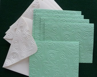 5 Embossed Note Cards, Sea Green, Blank Inside, Hand Made, Stationery, All Occasion, Thank You, Hostess Gift