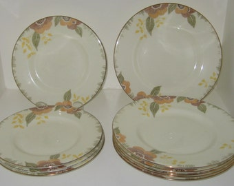Royal Doulton vintage art deco NERISSA pattern 10 tea plates - 6 x 7 inch side plates and 4 x 6.25 inch side plates - series ware