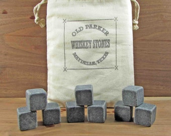 Set of 9 Whiskey Stones. Wine Stones. Whiskey Rocks.Wine Chillers. Ice. Chill Stones. Muslin Bag.