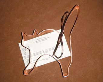 Large Scaredy Cat Shaped Solid Copper Cookie Cutter