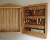 "18""h x 13""w Handcrafted Gate style 18 Key Organizer, Wooden Wall Cabinet Holder Rack Storage Box, Hooks, Wood, Security pocket, Golden Oak"