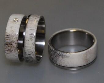 Engagement Antler Ring and Antler Wedding Band Set, Titanium Ring set