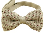 Beige Knitted Bow Tie.