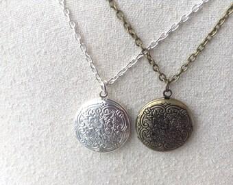 Silver or Bronze Locket Necklace