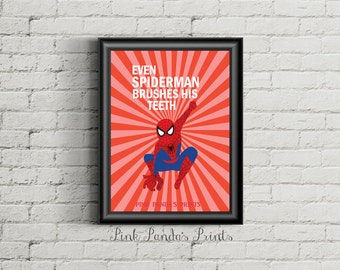 Even Spiderman Brushes His Teeth Print