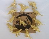 Gold Dinosaur Magnets Set of 6 Whole Gold Dinosaurs  +  Gift Tin, Animal Magnet, Desk Accessory, Dinosaur Wedding Favor, Gold Dinosaur, Dino