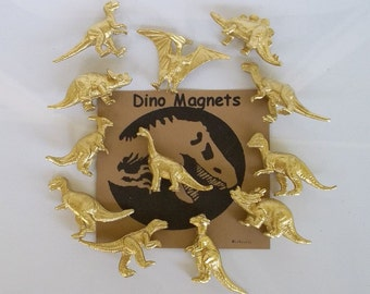 Gold Dinosaur Magnets FLASH SALE Set of 6 Whole Gold Dinosaurs, Gift Tin, Animal Magnet, Desk Accessory, Dinosaur Favor, Gold Dinosaur, Dino