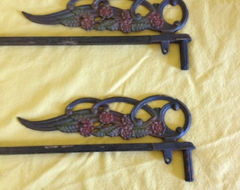 Vintage wrought iron curtain rods, hangers