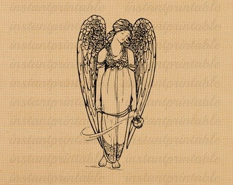 Angel digital image, instant download, printable iron on fabric transfer, downloadable images, clip art, scrapbooking - no. 210