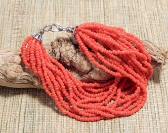 Red Coral Bead Bracelet Jewelry Christmas Stocking Stuffers