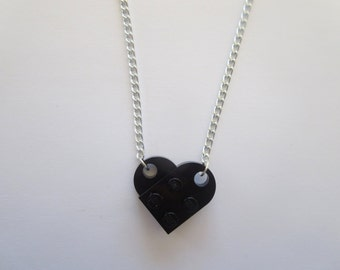 BLACK Lego Heart Necklace