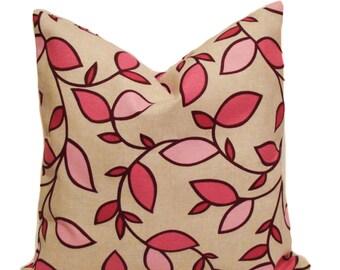 Pink pillows, 18x18, Leaf pillow, Toss pillow cover, Decorative pillows for couch, Sofa cushions, Accent pillow, Throw pillow, Modern pillow