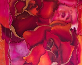Painting on silk Original Artwork Love Roses  MADE TO ORDER  Exclusive gift Hand Painted Silk
