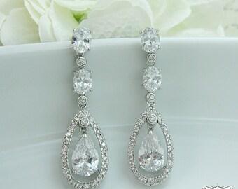 Wedding earrings, bridal earrings, tear drop pear cubic zirconia earrings dangle earring, wedding jewelry bridal Jewelry 204598543